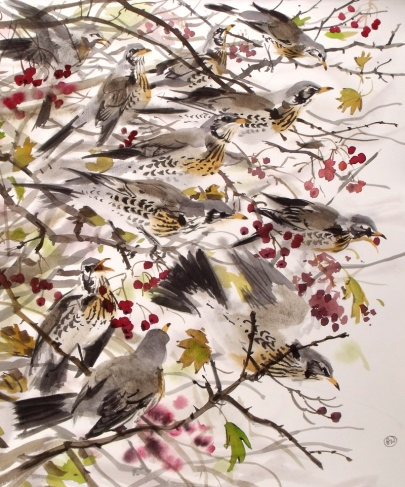Fieldfares in Rowan (sold)