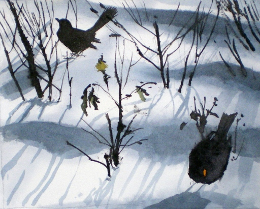 Two Blackbirds in Snow, Vestermarie (sold)