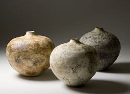 Eva Brandt 3 big stoneware pots 'Yellow Fossil', 'White Fossil' and 'Greygreen Rock' about 40 cm tall, coiled, fired in electric kiln 2011
