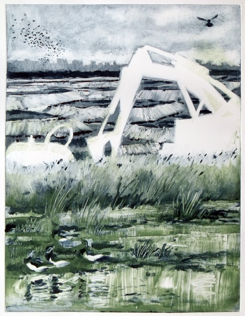Ghosts at Wallasea (monotype)