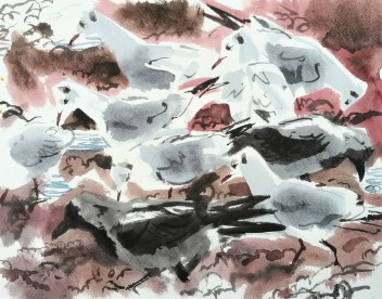KYST 38.10 Gulls and Crows Feeding on the Seaweed (sold)