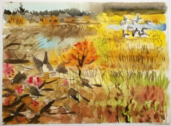 Autumn Energy - Fieldfares and Barnacles, Vestermarie (sold)