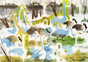 Whoopers and Canadians, Winter Field, Vestermarie (sold)