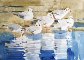 Black Headed Gulls on Thin Ice, Rønne (sold)