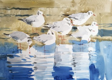 Black Headed Gulls on Thin Ice, Rønne (sold)