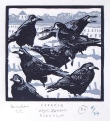 Bird of the Month linoleums print